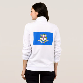 Women's  Fleece Zip Jogger flag of Connecticut USA