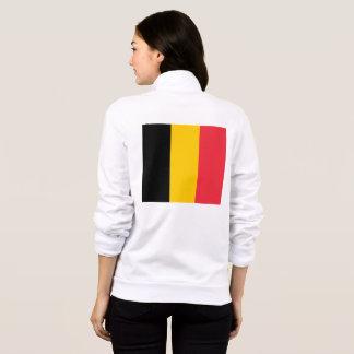 Women's  Fleece Zip Jogger with flag of Belgium