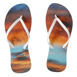 "Women's Flip Flop Sandals ""Fire In The Sky"""