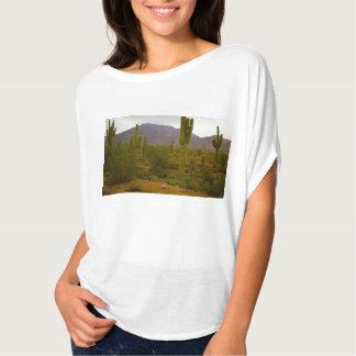 Women's Flowy Circle Top Bright Sahuaro Cacti T Shirt