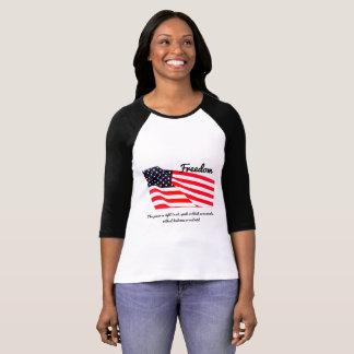 Women's Freedom Flag Bella 3/4 Sleeve T-Shirt