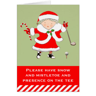 women's golf holiday gift greeting card