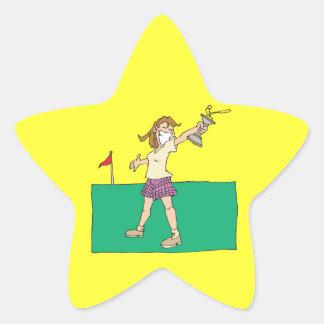Womens Golf Trophy Star Sticker