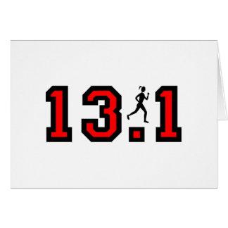 Womens half marathon greeting card