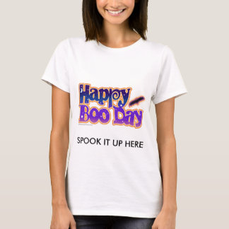 Womens Halloween Tees - Happy Boo Day Art