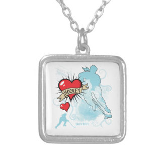 Women's Hockey Heart Tattoo Silver Plated Necklace