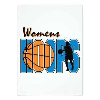 "womens hoops basketball design 5"" x 7"" invitation card"