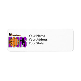 womens hoops purple basketball design return address label