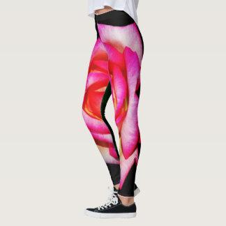 Women's Hot Pink on Black Leggings