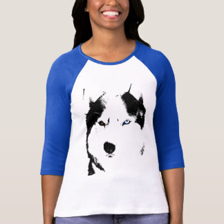 Womens Husky Baseball Jersey Shirt Sled Dog Shirt