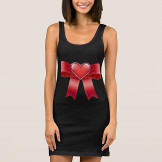Women's Jersey Tank Dress Black, Red bow & heart
