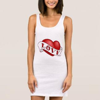Women's Jersey Tank Dress White, Red love heart