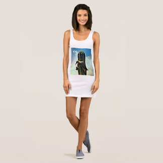 "Women's Jersey Tank Dress ""Woody on Saguaro"""