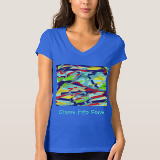 Women's Jersey V-Neck: Chaos into Form - Blue Tee Shirts
