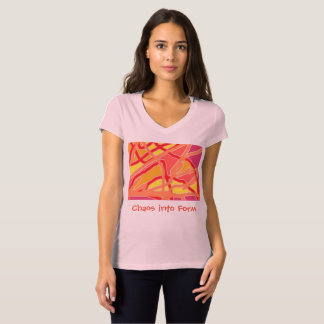 Women's Jersey V-Neck: Chaos into Form Pink T-shirt