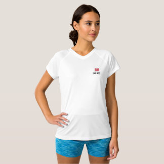 Women's JLSJ Logo Double-Dry V-Neck White T-Shirt