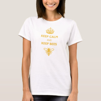 Women's Keep Calm & Keep Bees Shirt (Gold Print)