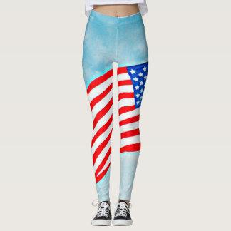 "Women's Leggings ""American Flag"" in Blue Sky"