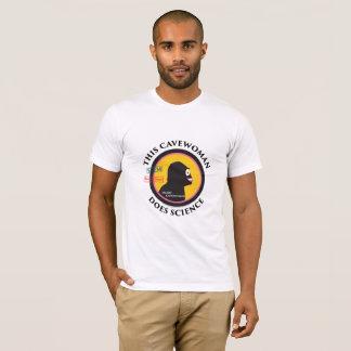 Women's Logos on Mans t-shirt Science Cavewoman