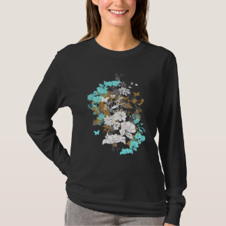Womens Long Sleeve Multi-Floral T-Shirt