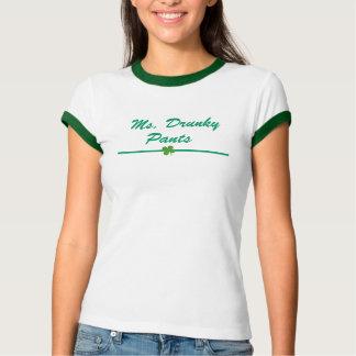 Women's Ms. Drunky Pants Kelly Green Ringer T-Shirt