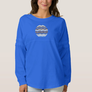 Women's oversized T-shirt with blue mosaic