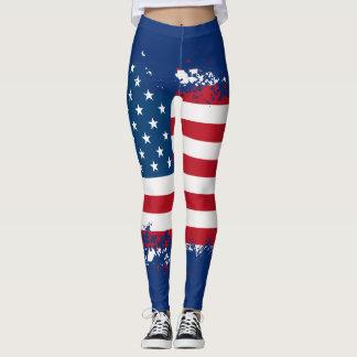 Women's Patriotic American Flag Leggings