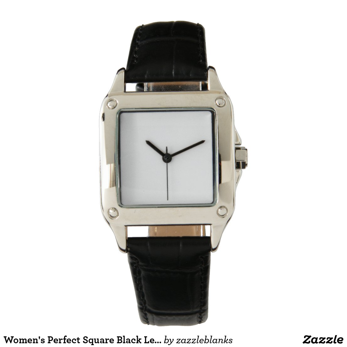 Women's Perfect Square Black Leather Strap Watch