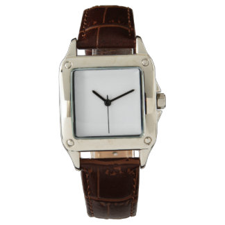 Women's Perfect Square Brown Leather Strap Watch
