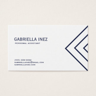 Women's Personal Assistant Navy Blue and White Business Card