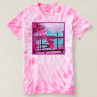 Womens pink tie-dye shirt-tropical T-Shirt