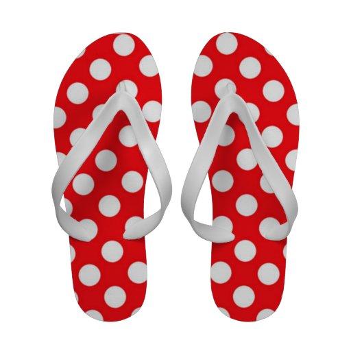 Womens Red And White Polka Dot Flip Flops