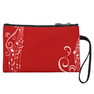 Women's Red Musical Notes Wristlet