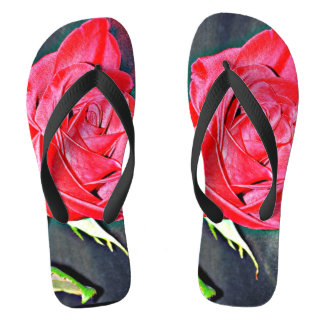 Women's Red Rose on Black Flip Flops