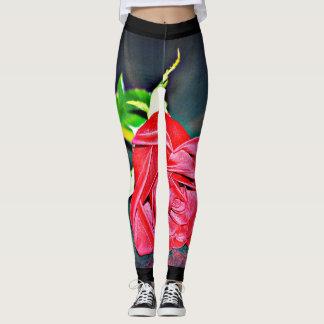 Women's Red Rose on Black Leggings