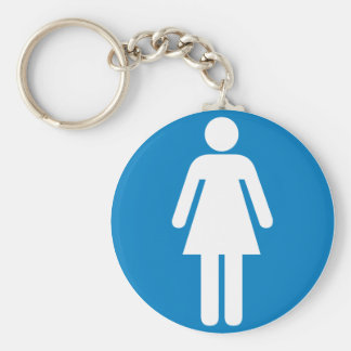 Women's Restroom Highway Sign Basic Round Button Key Ring