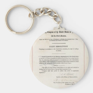 Women's Right to Vote- 19th Amendment Basic Round Button Key Ring