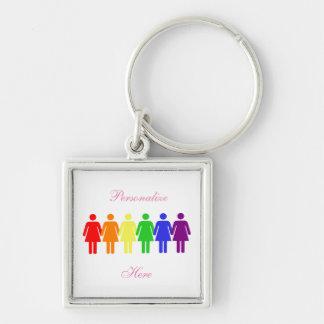 women's right's 2017 LGBTQIA Silver-Colored Square Key Ring