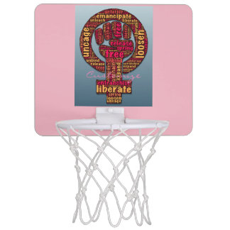 women's rights raised fist mini basketball hoop