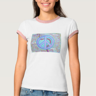 Women's Ringer T SHirt- Peace Tee Shirt
