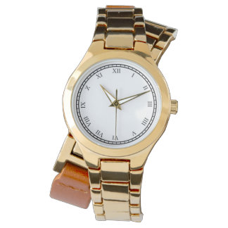 Womens Roman Numbers Wraparound Gold Watch Add Own