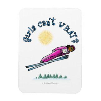 Womens Ski Jumping Rectangular Photo Magnet