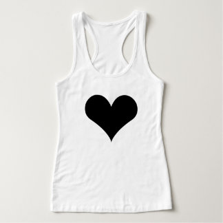 Women's Slim Fit Racerback Tank Top Black Heart