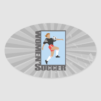 womens soccer graphic logo oval sticker