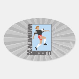 womens soccer graphic logo oval sticker