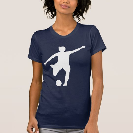 Women's Soccer Logo (White on Blue) T-Shirt