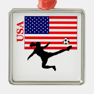 Women's Soccer USA Silver-Colored Square Decoration