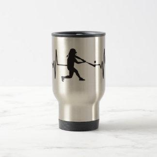 Women's Softball Player - Heartbeat Pulse Travel Mug