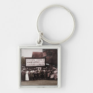 Women's Suffrage Group with Banner Keychain