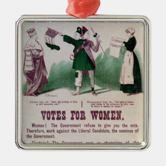 Women's Suffrage Poster Silver-Colored Square Decoration